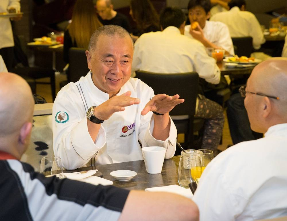 Chef Nobu Matsuhisa enjoys breakfast and prepares for Nobu United with his executive chefs at Nobu Restaurant and Lounge Caesars Palace.