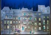 A row of elegant townhouses on a snowy night, with Tiffany Blue Boxes delivered by  sleigh.