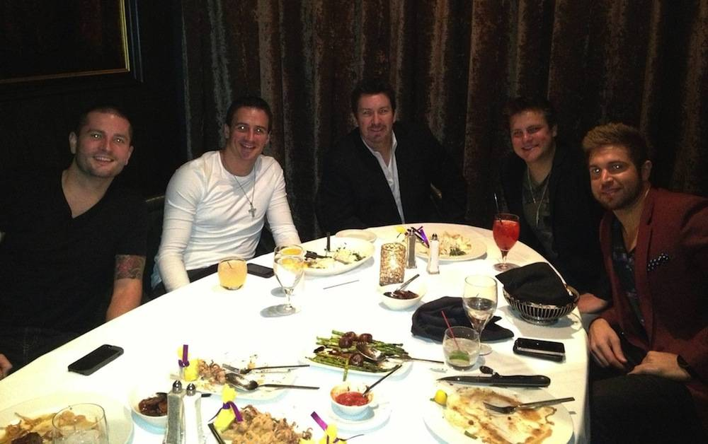 Ryan Lochte with friends at dinner in Andiamo at the D Casino Hotel Las Vegas