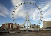 The Las Vegas High Roller marks another construction milestone on Tuesday when all 28 passenger cabins were attached to the observation wheel.