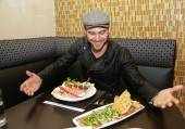 Ryan Guzman is all smiles at N9NE Steakhouse at Palms Casino Resort in Las Vegas.