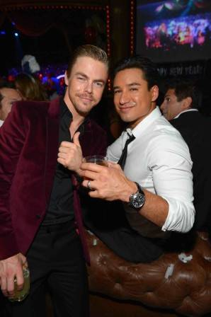 Derek Hough and Mario Lopez at Beacher's Madhouse. Photos: Bryan Steffy/Getty Images and WireImage