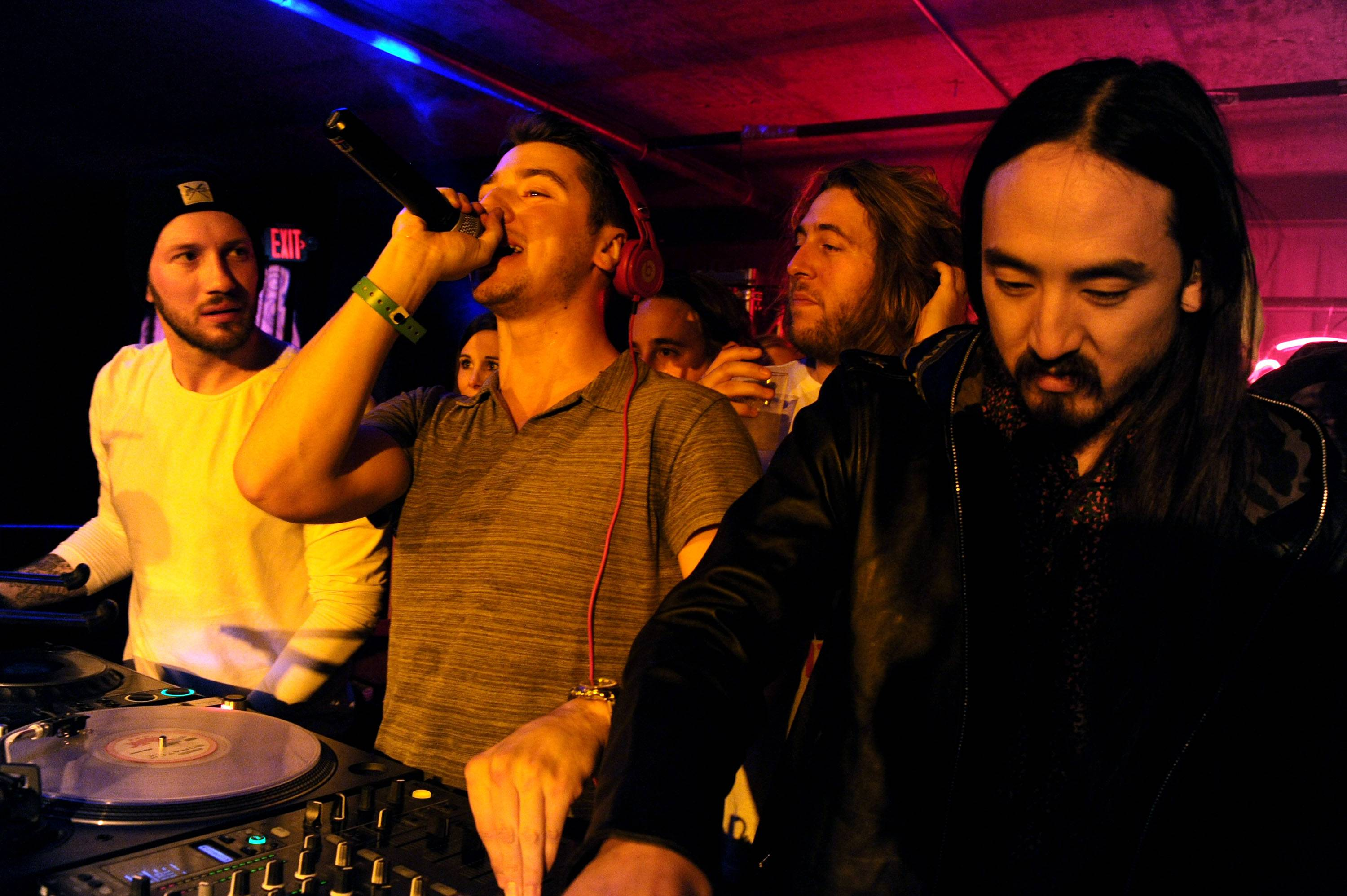 DJ Politik and Steve Aoki getting the crowd pumped up TAO at Village at the Lift night four of Sundance. Photos: Seth Browarnik/WorldRedEye.com