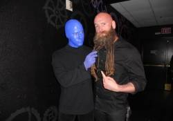 Chris Kael of Five Finger Death Punch with the Blue Men