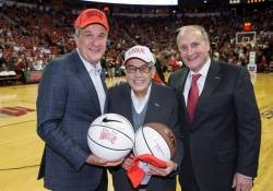 Larry Ruvo, Dr. Jerry Vallen and Dean Stowe Shoemaker at the UNLV basketball game.