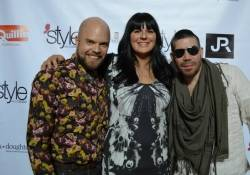 "Style with a Cause founder Jenna Doughton and ""Project Runway"" stars Joshua Christensen and Carlos Casanova, pose on the red carpet at the style with a cause event on Friday, Feb. 28, at Fashion Show mall."