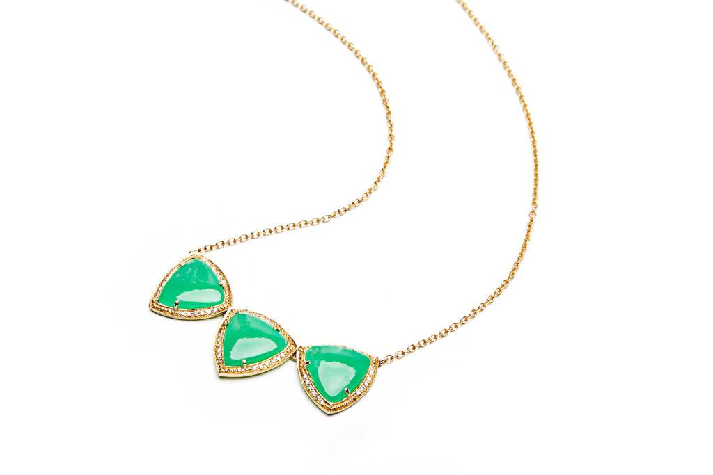 Photo: Jacquie Aiche 3 Smooth Triangle Bezel Necklace, $6,125