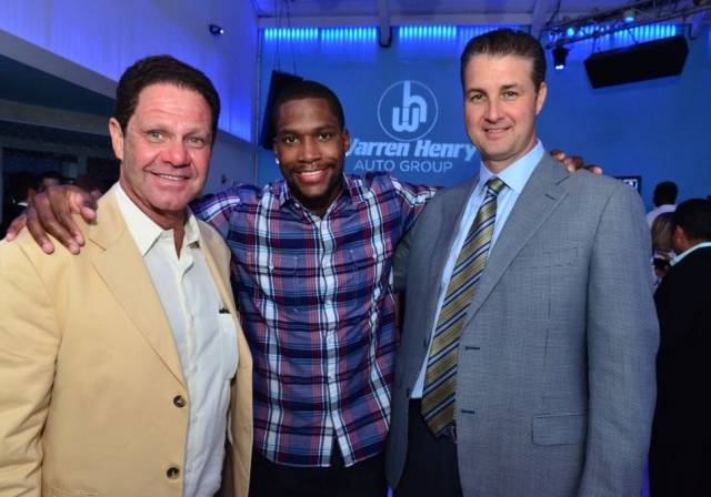 Warren Henry Zinn, President and CEO of Warren Henry Auto Group;Toney Douglas of the Miami Heat; and Erik Day, Vice President and CFO of Warren Henry Auto Group