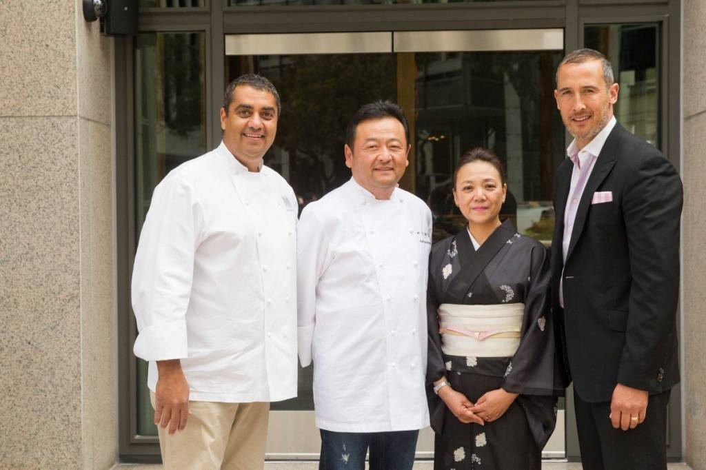 Chef Michael Mina, Chef Ken Tominaga, Emiko Tominaga and Patric Yumul  Credit: Drew Altizer Photography