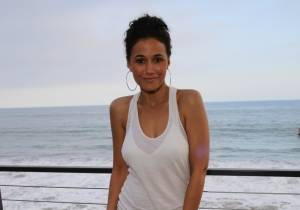 Emanuelle Chriqui is all smiles at the 1OAK 4th of July party at Nobu Malibu