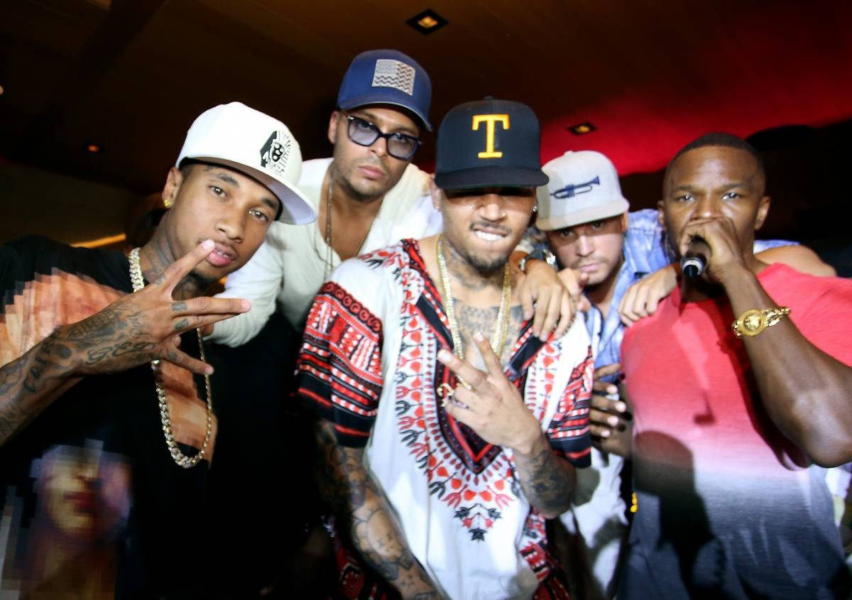 Tyga, owner of 1OAK Richie Akiva, Chris Brown and Jamie Foxx at the 1OAK 4th of July party at Nobu Malibu