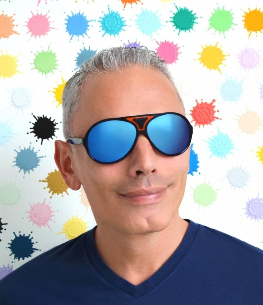 Christian Roth in Havana blue sunglasses