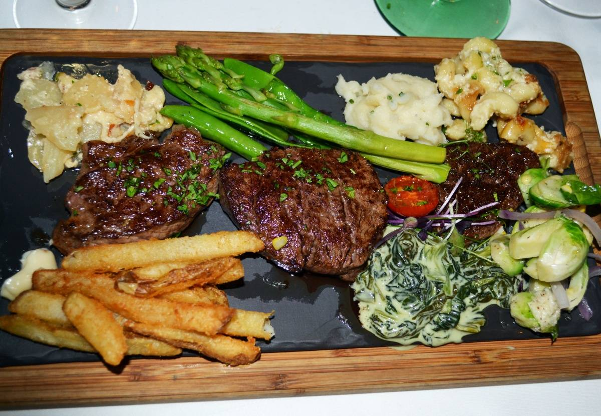 "The Waterlot Inn steak ""Tasting Trio"" – Photo by Kristin Tablang"