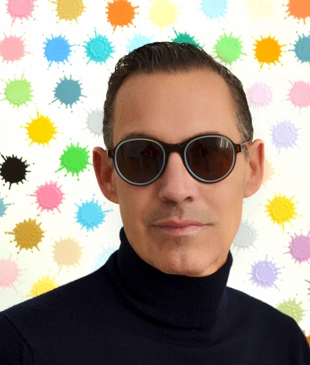 Eric Domege in Cortina mocha brown blue sunglasses