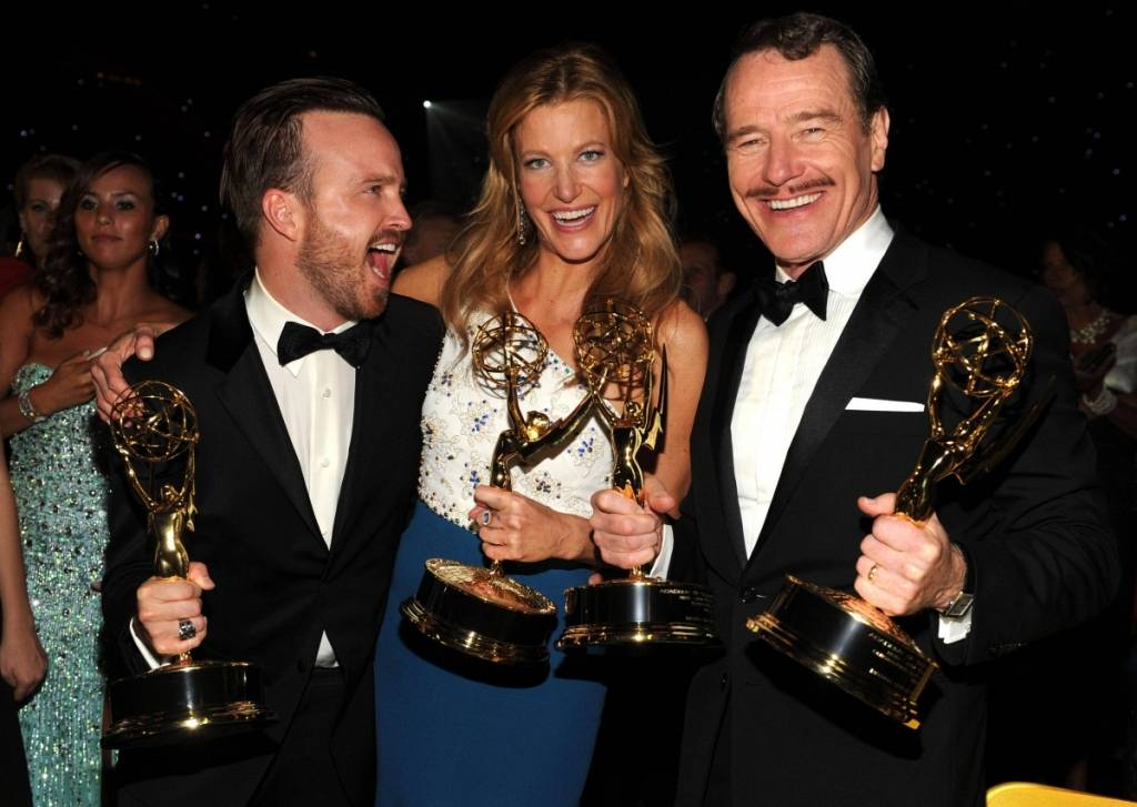 Aaron Paul, Anna Gunn and Bryan Cranston at the 2014 Emmy Awards Governors Ball