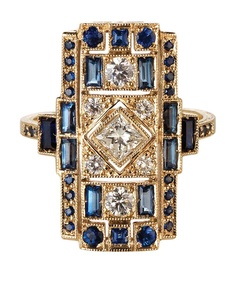 Sabine G Blue Sapphire Harlequin Ring