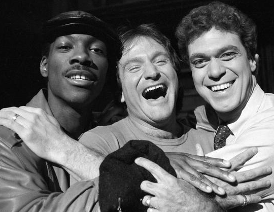Robin Williams with Eddie Murphy and Joe Piscopo on Saturday Night Live in 1984, photo by Suzanna Vlamis, via AP