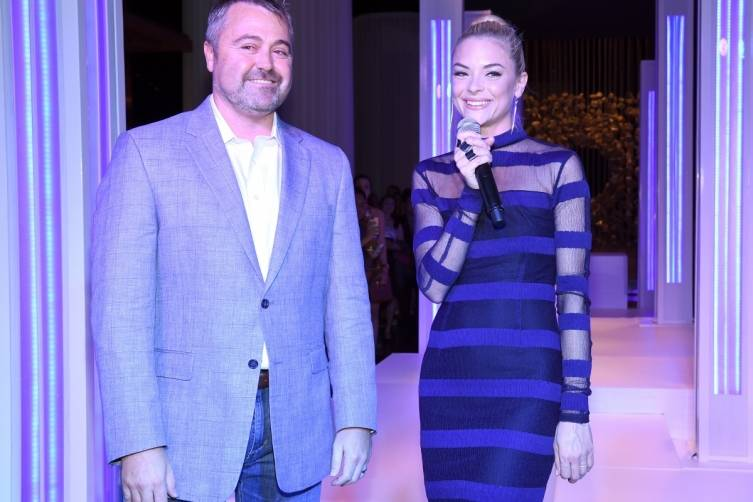 Delano Las Vegas' general manager Matthew Chilton and event host Jaime King welcome guests to the boutique property's grand opening bash, 9.18.14