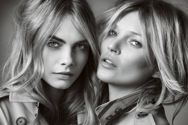 Cara Delevingne and Kate Moss for My Burberry