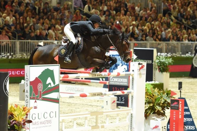 Jessica Springsteen rides Vindicat W during the Longines Grand Prix class