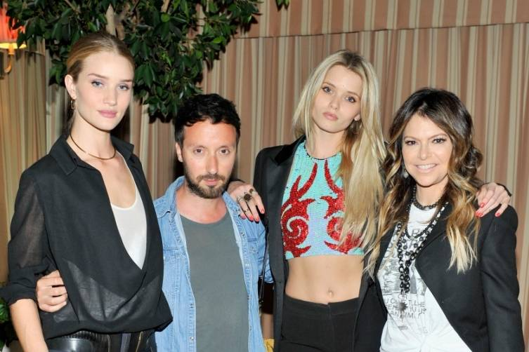 Rosie Huntington-Whiteley, fashion designer Anthony Vaccarello, model Abbey Lee Kershaw, and fashion designer Elyse Walker