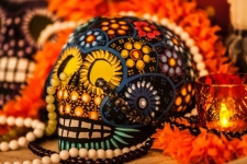 Authentic beaded skulls set the tone for a week of riotous celebration