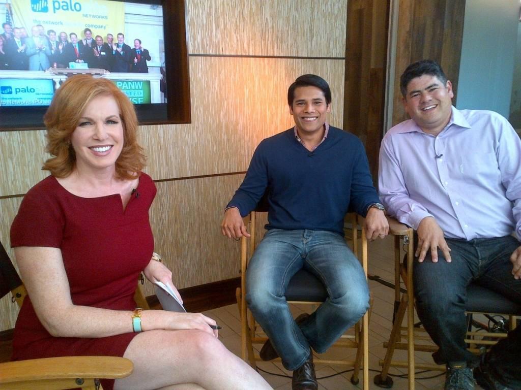 Liz Claman, Nextdoor co-founder and CEO Nirav Tolia and Greylock partner David Sze
