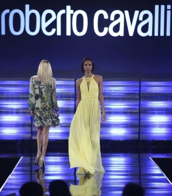 Models on the Roberto Cavalli runway