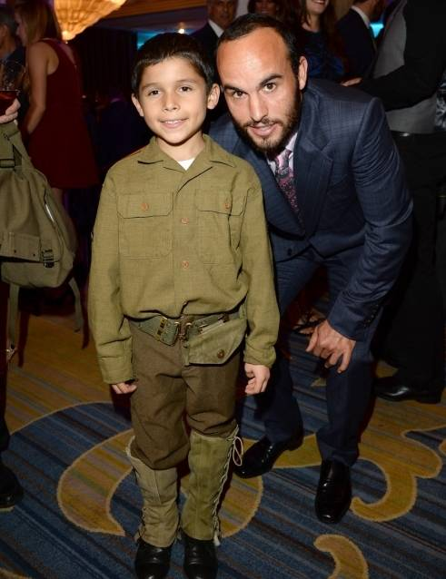 Professional LA Galaxy soccer player Landon Donovan and Jacob Angel attend the Make-A-Wish Greater Los Angeles Wishing Well Winter Gala at the Wilshire