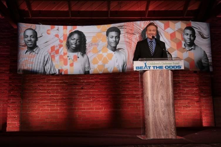 Conan O'Brien onstage at the Children's Defense Fund gala