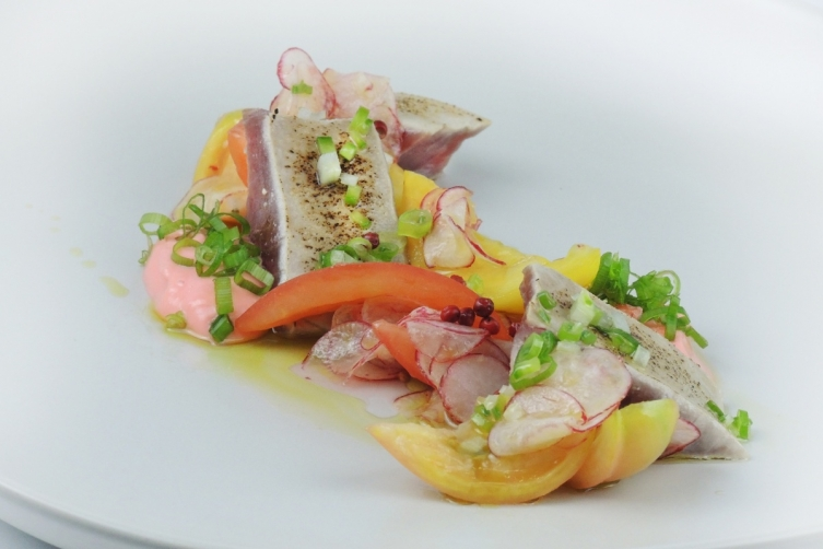 Marinated Bonito, Confit Heirloom Tomatoes, Spring Onion Vinaigrette Image