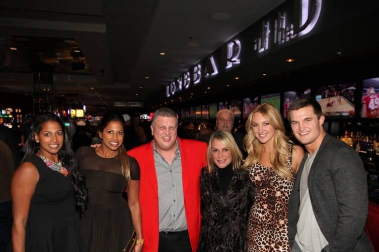 Nadiya Anderson, Natalie Anderson, Derek Stevens, Nicole Parthum, Jaclyn Schultz and Jon Misch at the D Las Vegas