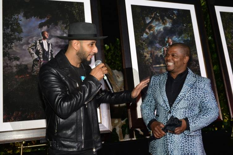 Swizz Beatz and Kehinde Wiley attend Kehinde Wiley + GREY GOOSE Portrait Preview