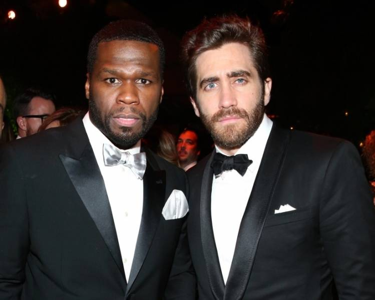 50 Cent and Jake Gyllenhaal at TWC/Netflix post-Golden Globes party