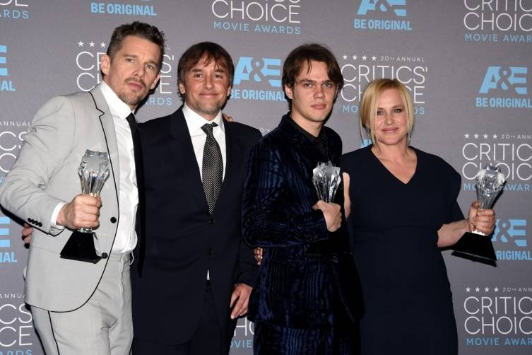 "The cast of ""Boyhood"" wins big: Ethan Hawke, Richard Linklater, Elar Coltrane and Patricia Arquette"