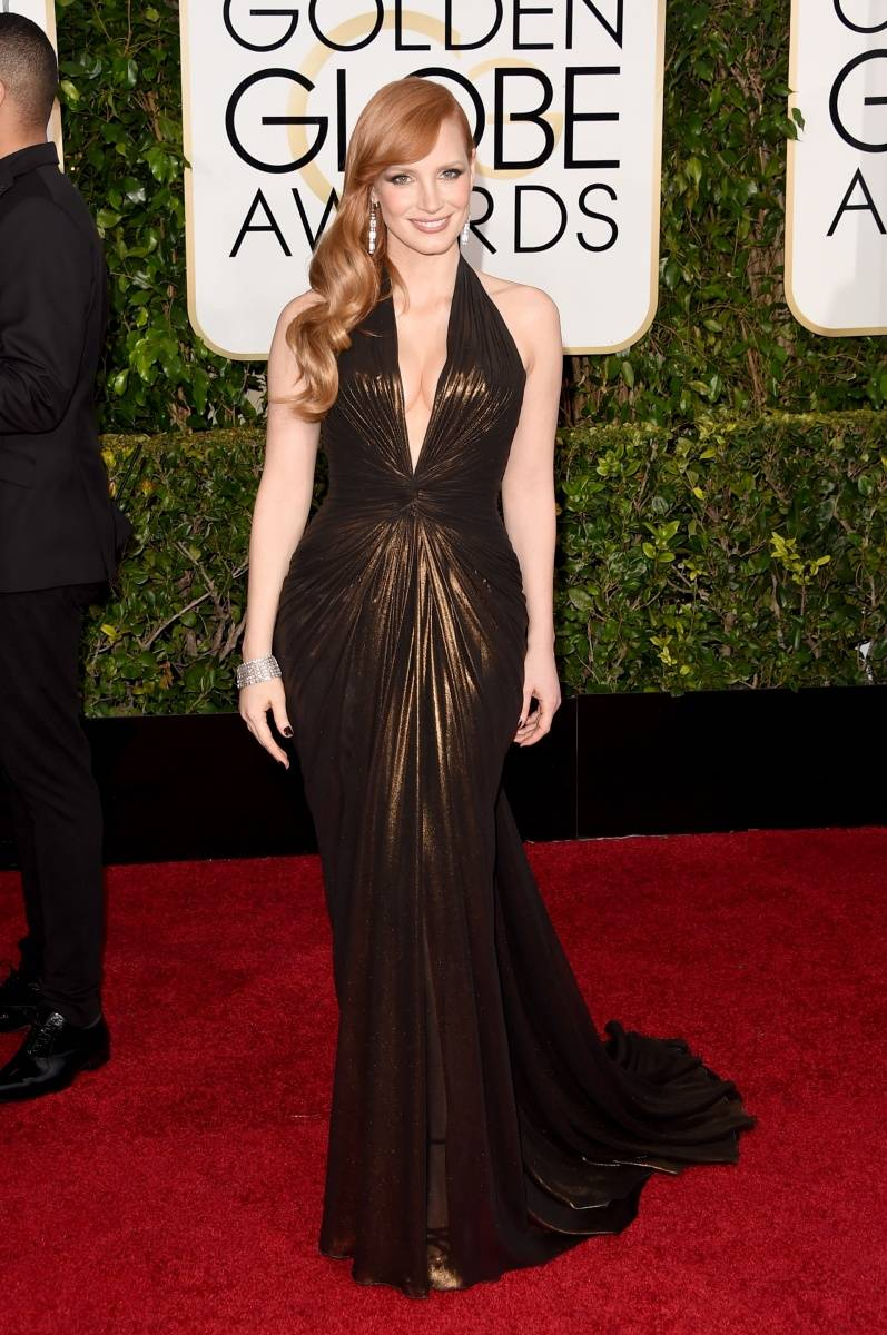 Jessica Chastain Golden Globes 2015 wearing Atelier Versace