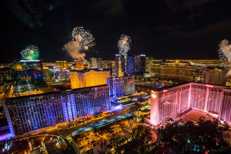 New Year's Eve fireworks on the Las Vegas Strip as seen from the High Roller. CREDIT: ERIK KABIK / KABIK PHOTO GROUP