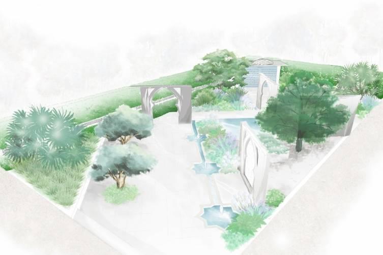 "Bin Zaal's perspective of her garden themed ""The Beauty of Islam."""