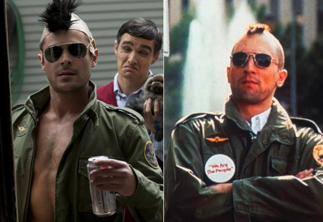 "Zac Efron as Robert Deniro as Travis Bickle in ""Neighbors"" (2014), Robert DeNiro as Travis Bickle in ""Taxi Driver"" (1976)"