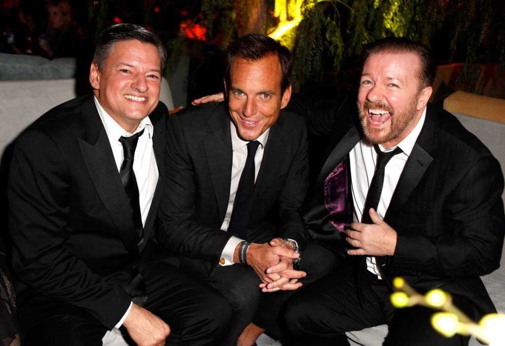 Ted Sarandos, Will Arnett and Ricky Gervais