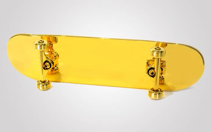 Shut gold-plated skateboard